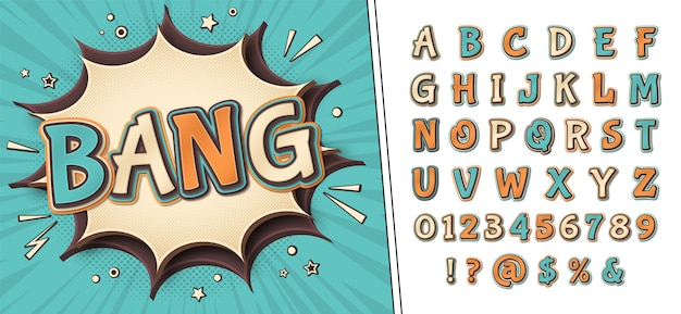 Comics font and poster with word bang. alphabet in style of pop art. multilayer retro letters with halftone effect Premium Vector