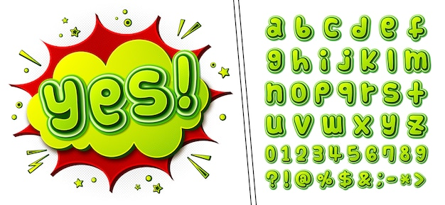 Comics font and poster with word yes. kid's alphabet in style of pop art. multilayer green letters with halftone effect on comic book page Premium Vector