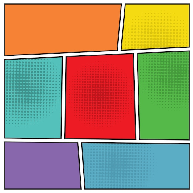 Comics popart blank layout Free Vector