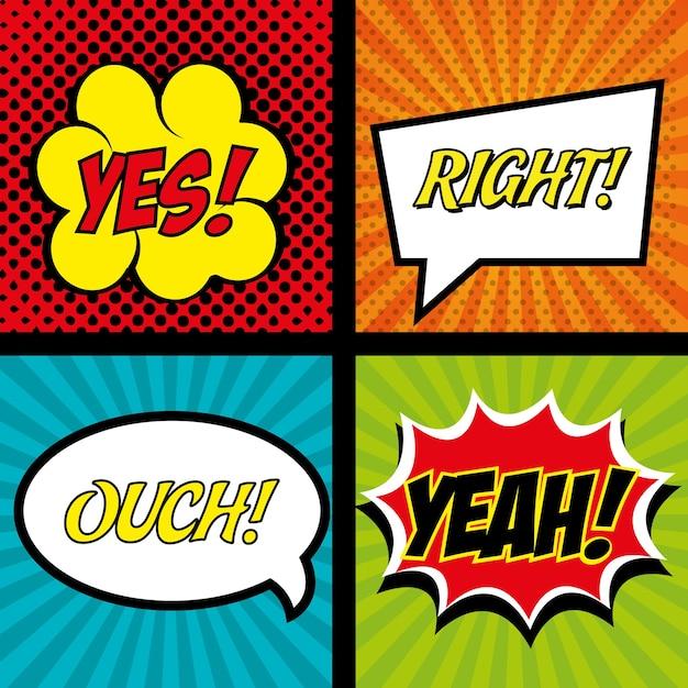 Comics set bubble speech text graphic Premium Vector