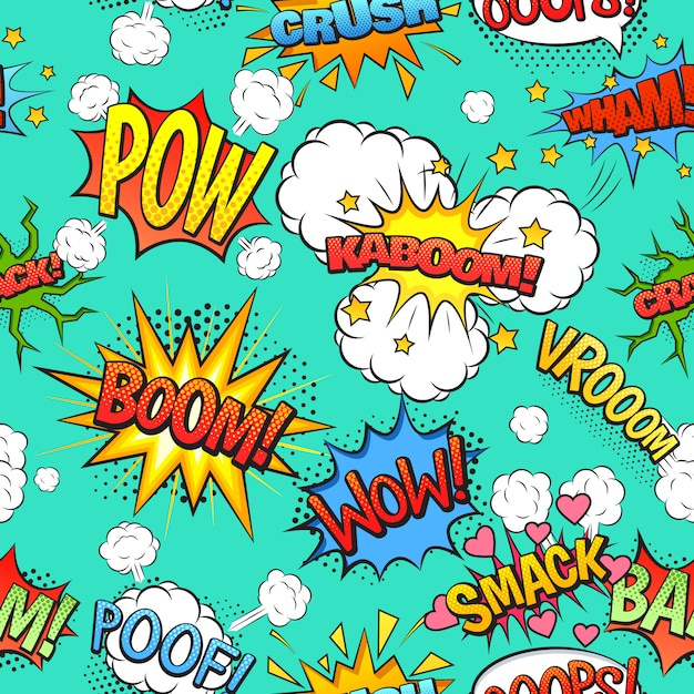Comics speech and exclamations boom wow bubbles clouds seamless pattern with bright green background Free Vector
