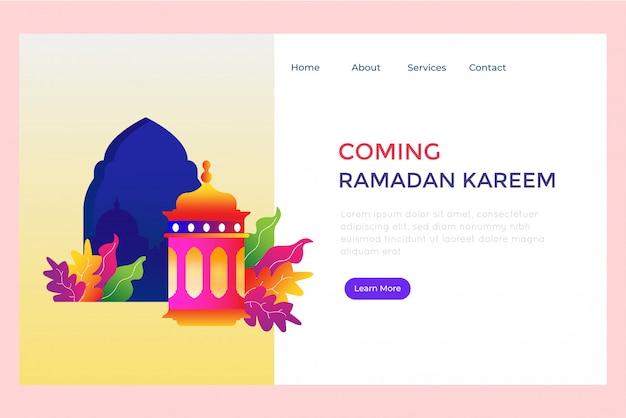 Coming ramadan landing page Premium Vector