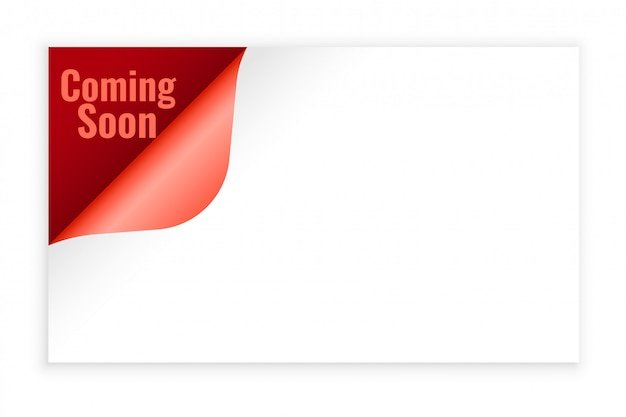 Coming soon background in page curl style design Free Vector