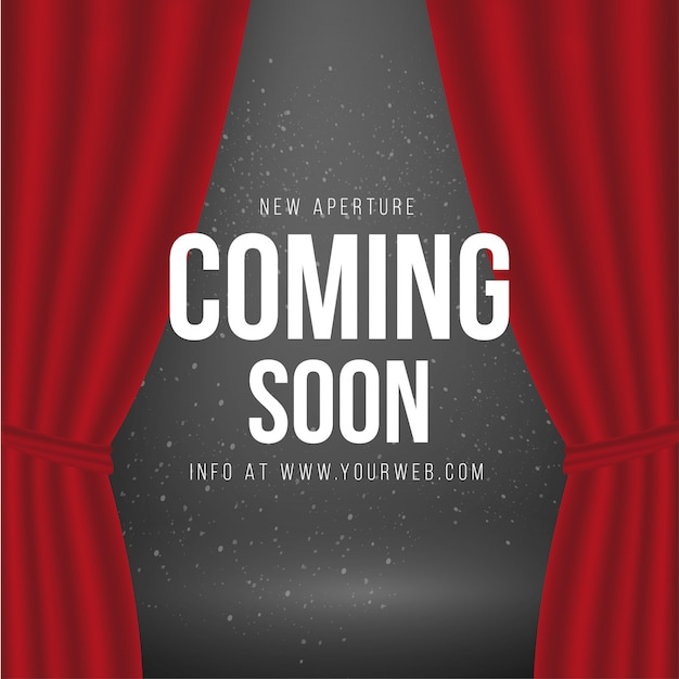 Coming soon background with red curtains Free Vector