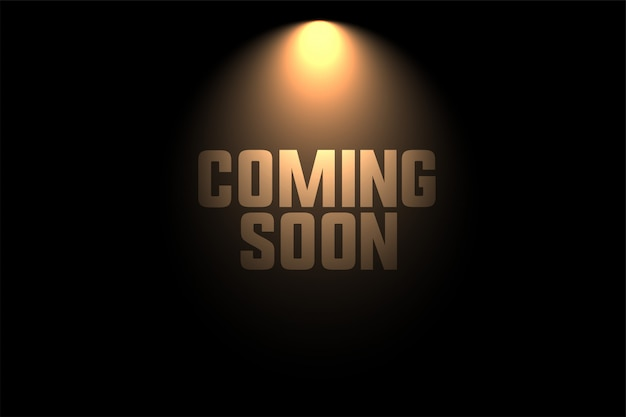 Coming soon background with spot light design Free Vector