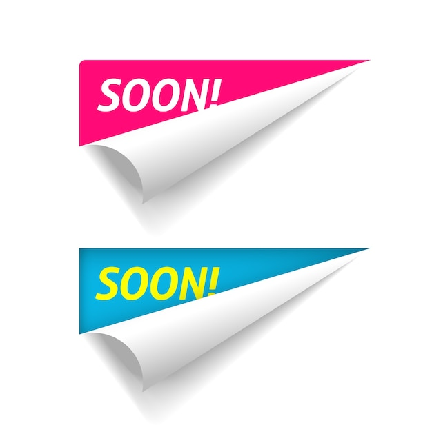 Coming soon banner on corner peel flip paper fold , new product release advertising folded sticker Premium Vector