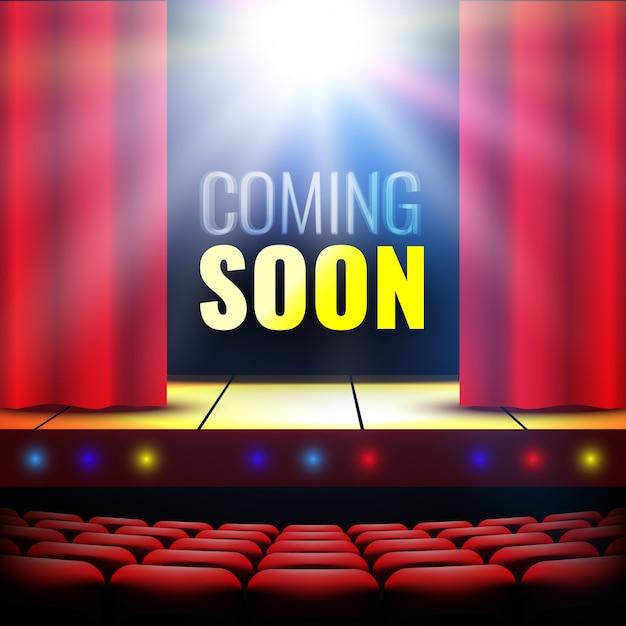 バナーは近日公開。カーテン、サーチライト、ライト付きの劇場ステージ。表彰台。コンサートホール。ショーのポスター。図。 Premiumベクター