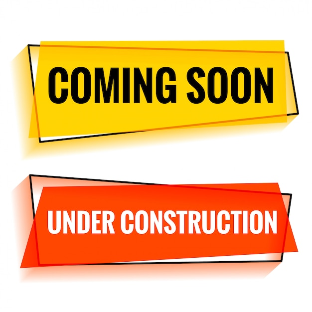 Coming soon and under construction two web banner Free Vector