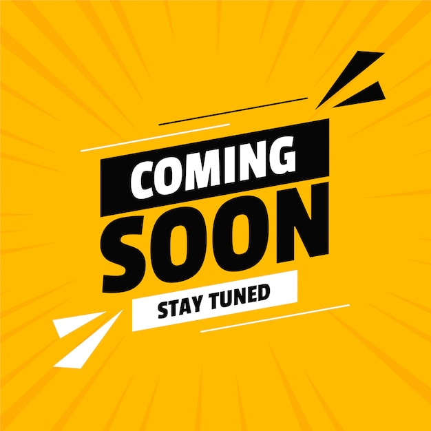 Coming soon under construction yellow design Free Vector