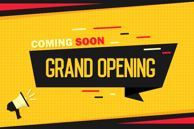 Coming soon grand opening. megaphone with ribbon banner and halftone. Premium Vector