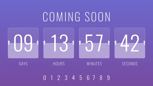 Coming soon illustration with flip countdown clock counter timer Premium Vector