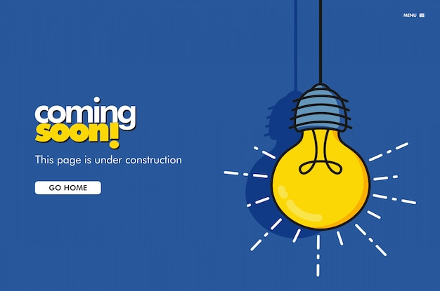 Coming soon landing page. bulb vector illustration Premium Vector