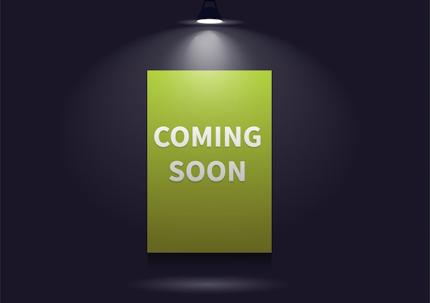 Coming soon message illuminated with light projector. Premium Vector