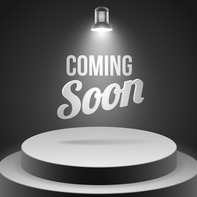 Coming soon message illuminated with stage light Free Vector