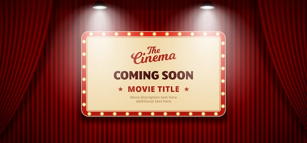 Coming soon movie in cinema design. old classic retro theater billboard sign on red theater stage curtain backdrop with double bright spotlight Premium Vector