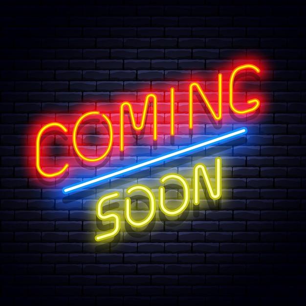 レンガの壁にネオンバナーが近日公開されます。図。 Premiumベクター