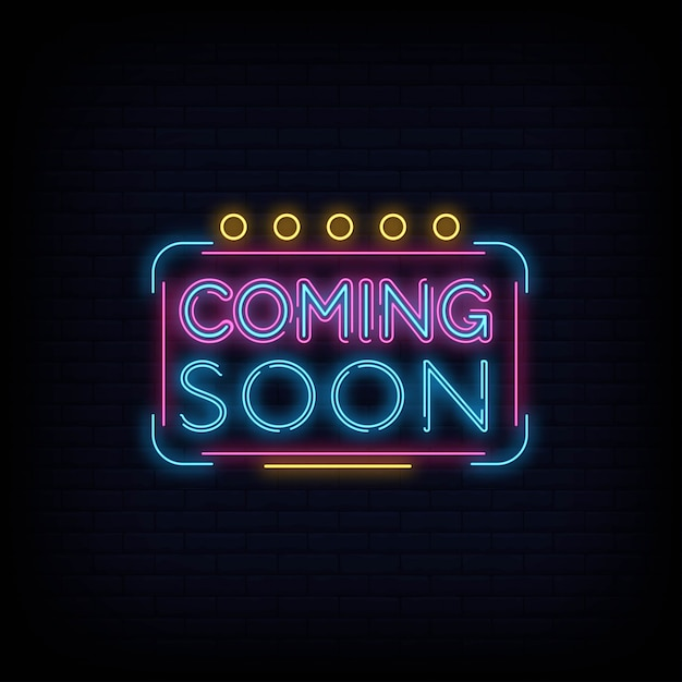 Coming soon neon sign vector a brick wall background Premium Vector