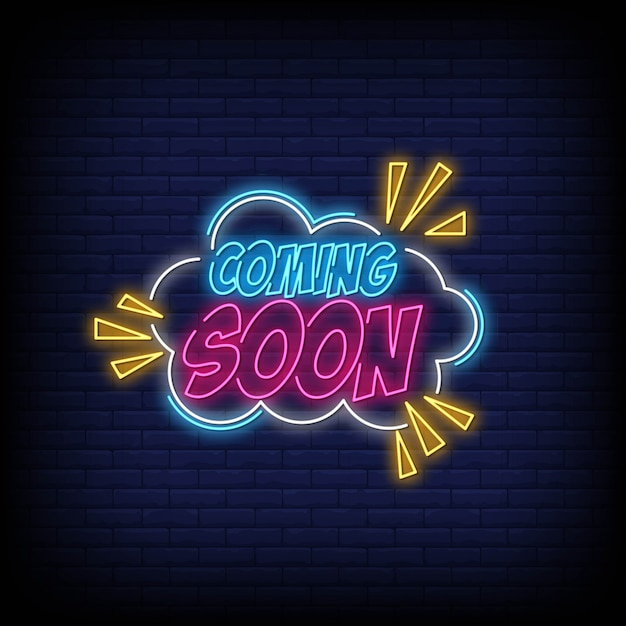 Coming soon neon sign vector for poster Premium Vector
