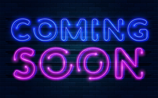 Coming soon neon sign Premium Vector