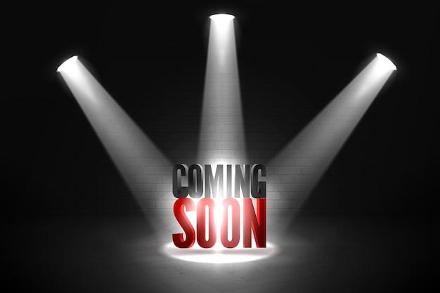 Coming soon in stage spotlight on dark background. Premium Vector