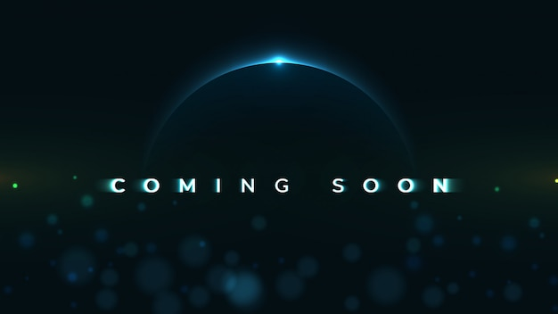 Coming soon text on abstract sunrise dark background with motion effect Premium Vector