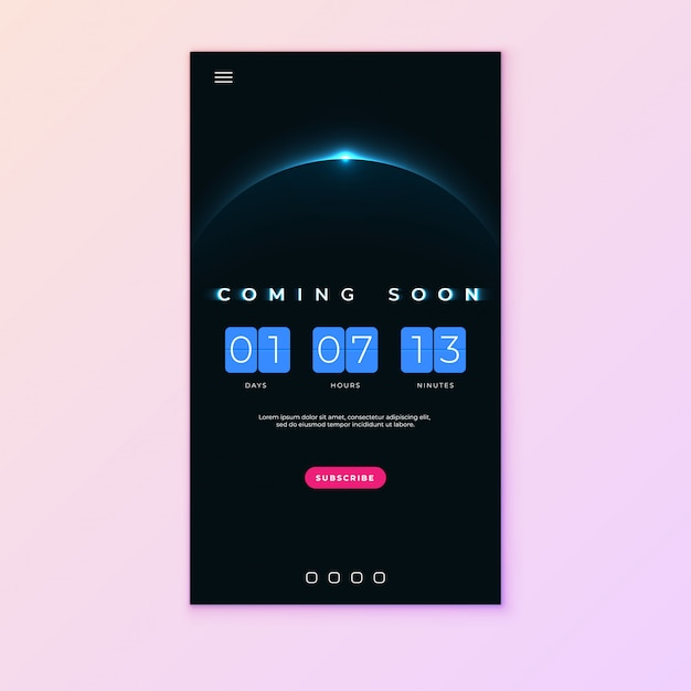 Coming soon text on abstract sunrise with flip countdown clock counter timer Premium Vector