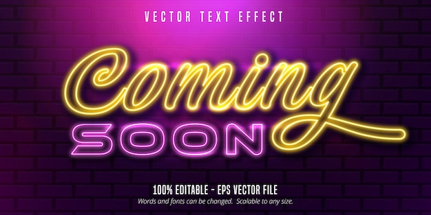Coming soon text,  neon style editable text effect Premium Vector