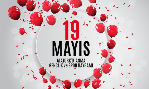 Commemoration of ataturk, youth and sports day banner Premium Vector