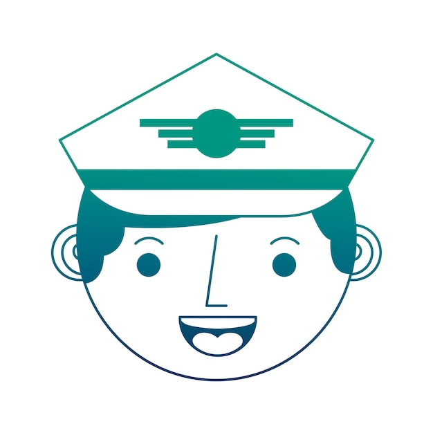 Commercial airplane pilot face character Premium Vector