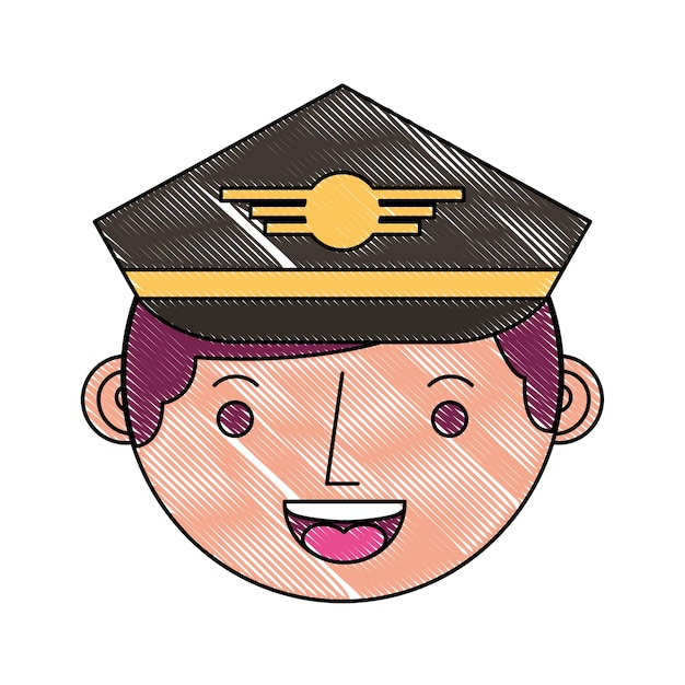 Commercial airplane pilot in uniform face character Premium Vector