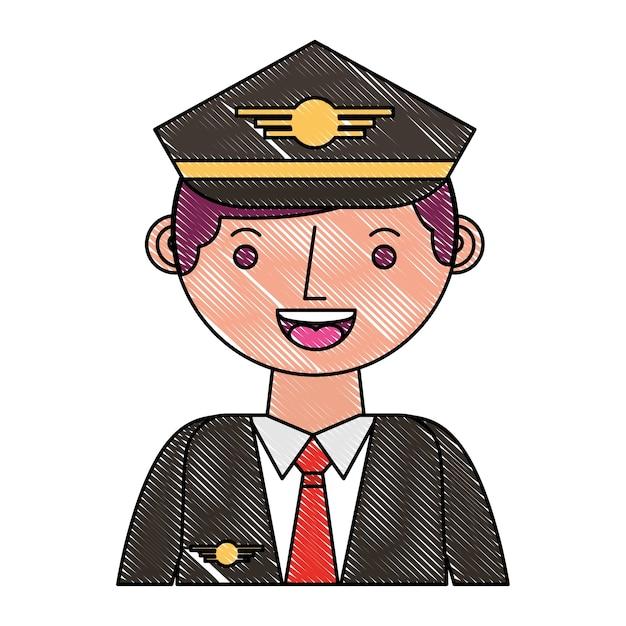 Commercial airplane pilot in uniform portrait Premium Vector