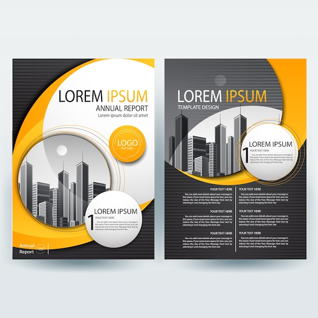 Commercial Annual Report Template With Orange And Black Wavy Shapes  Annual Reports Templates