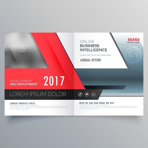 Modello di disegno del manifesto del brochure bifold di affari rosso Vettore gratuito