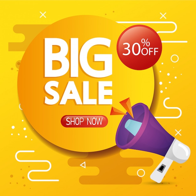 Commercial banner with big sale lettering and thirty percent discount Free Vector