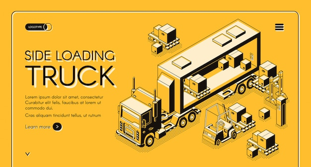 Commercial cargo delivery service web page Free Vector