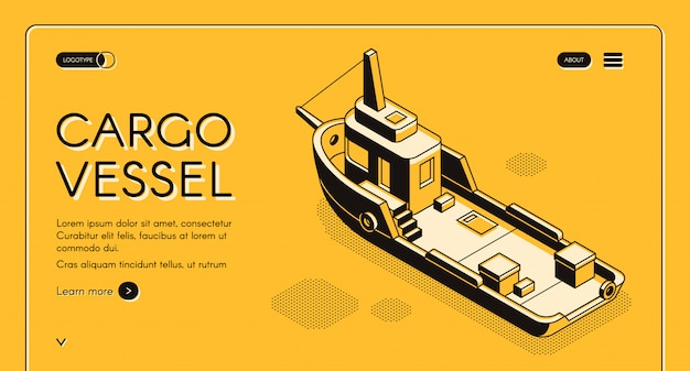 Commercial cargo vessel isometric web banner with freight ship or tugboat line art Free Vector