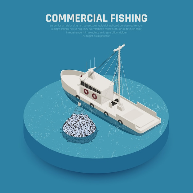 Commercial fishing vessel Free Vector