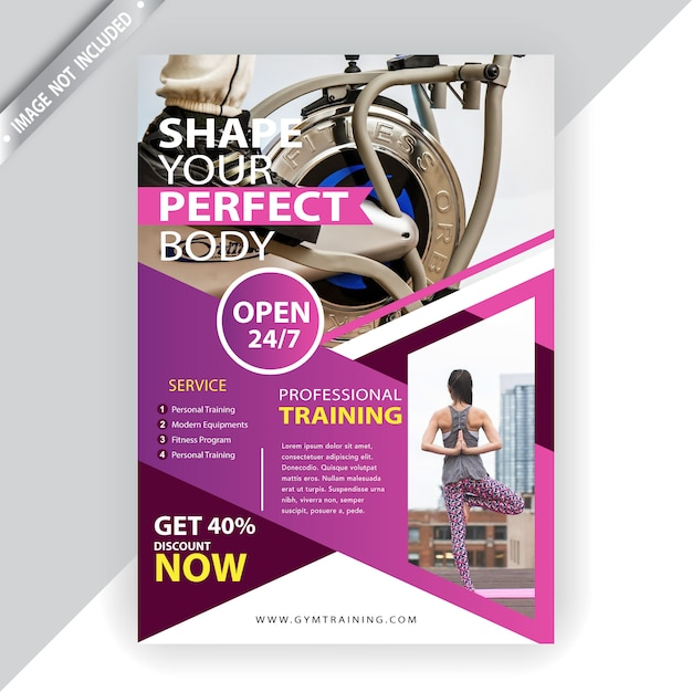 Commercial fitness flyer template Free Vector