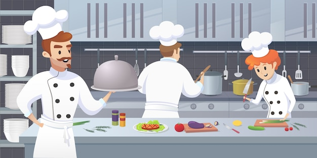 Commercial kitchen with cartoon characters chef Premium Vector