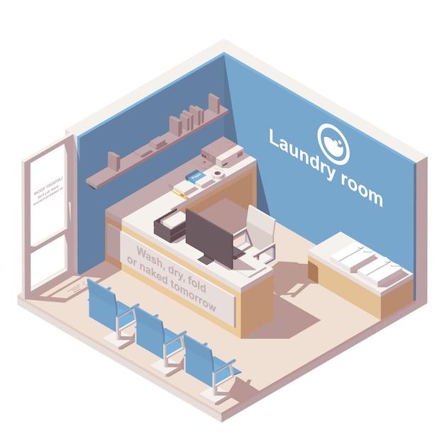 Commercial laundry isometric icon Premium Vector