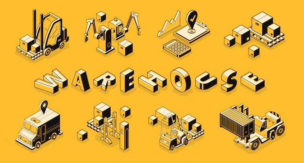 Commercial warehouse line art, isometric vector banner. Free Vector