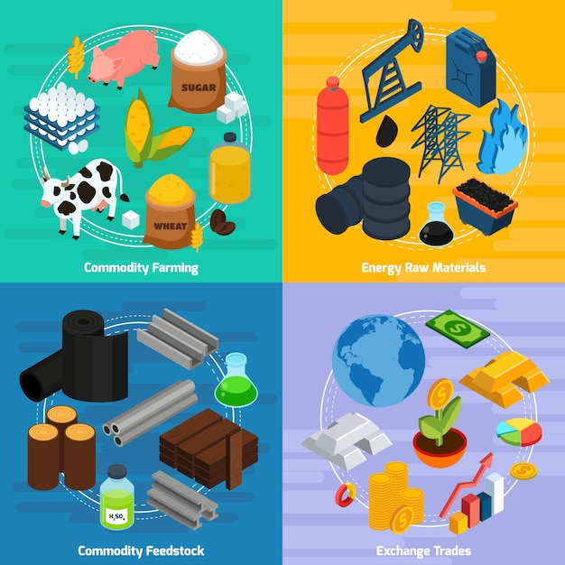 Commodity concept icons set Free Vector
