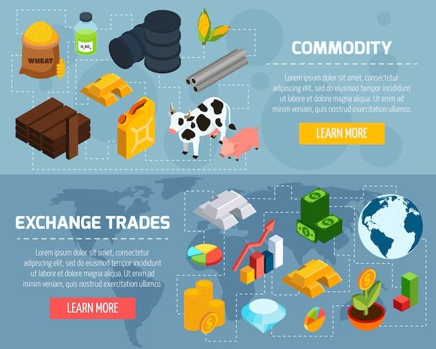 Commodity horizontal banners set Free Vector