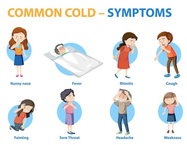 一般的な風邪の症状漫画スタイルインフォグラフィック 無料ベクター