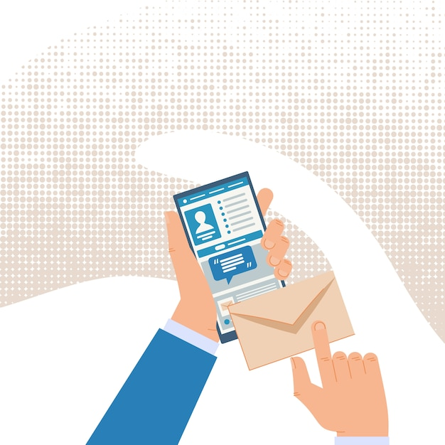 Communicating online with mobile messenger. Premium Vector