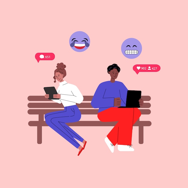 Communication concept with diverse people flat illustration isolated. Premium Vector