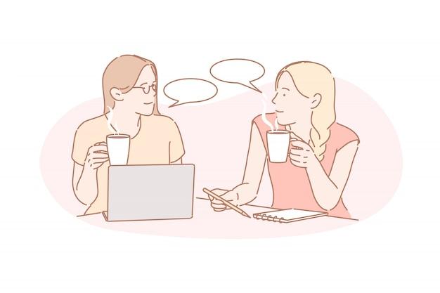 Общение, коворкинг, концепция дружбы Premium векторы