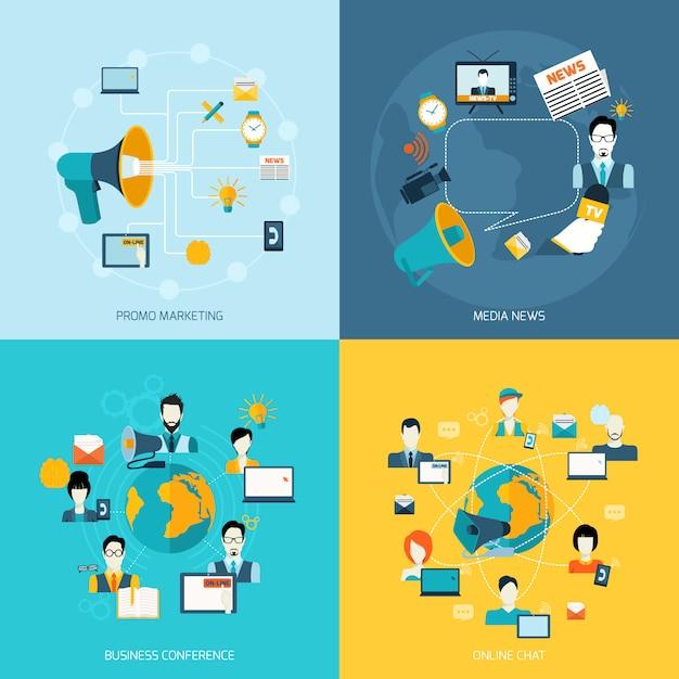 Communication elements composition set flat Free Vector