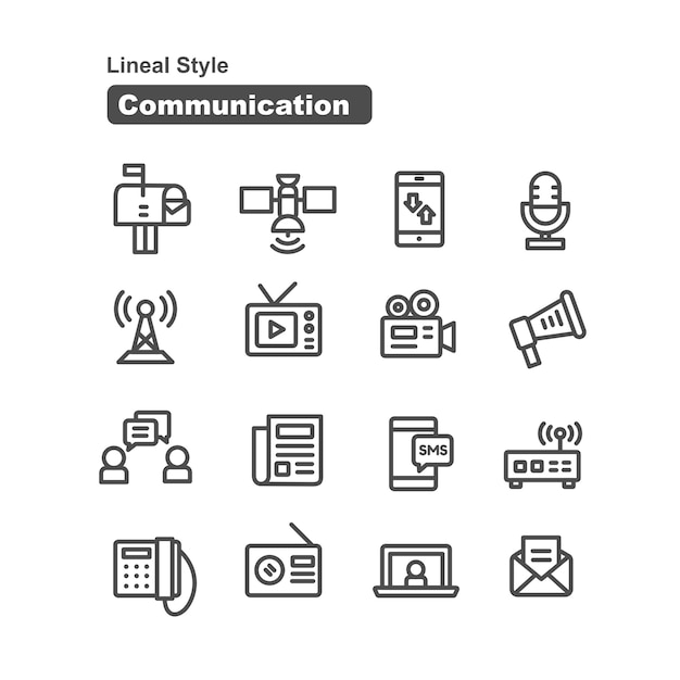 Communication icons collection in line style Premium Vector