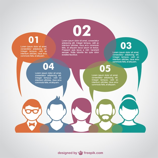 Communication infographic with colorful avatars and speech bubbles Free Vector
